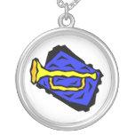 Stylized Yellow Trumpet Grapic Blue Background Jewelry