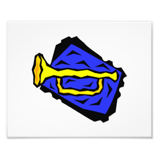 Stylized Yellow Trumpet Grapic Blue Background Photo