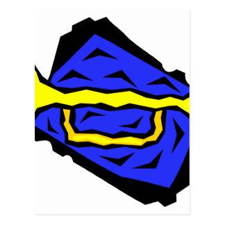 Stylized Yellow Trumpet Grapic Blue Background Postcard