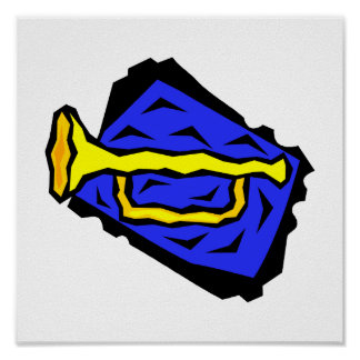 Stylized Yellow Trumpet Grapic Blue Background Poster