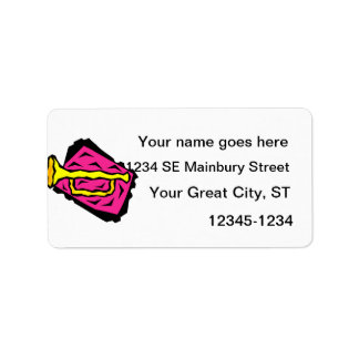 Stylized Yellow Trumpet Grapic Pink Background Label