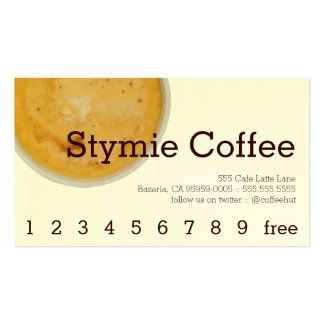Stymie Coffee Drink Loyalty / Punch Card Business Card Templates