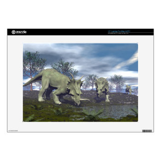 Styracosaurus dinosaurs going to water - 3D render Decals For Laptops