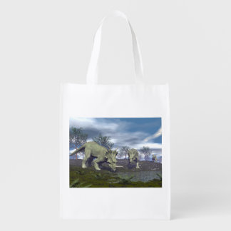 Styracosaurus dinosaurs going to water - 3D render Grocery Bag