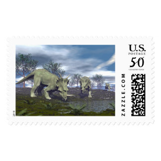 Styracosaurus dinosaurs going to water - 3D render Postage