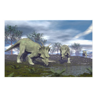 Styracosaurus dinosaurs going to water - 3D render Stationery
