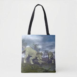 Styracosaurus dinosaurs going to water - 3D render Tote Bag