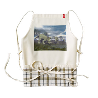 Styracosaurus dinosaurs going to water - 3D render Zazzle HEART Apron