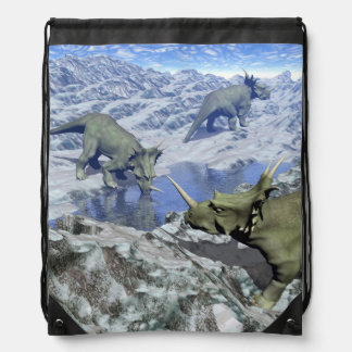 Styracosaurus near water- 3D render Drawstring Backpack