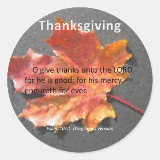 Su 107:1 del salmo de la acción de gracias de pegatina redonda