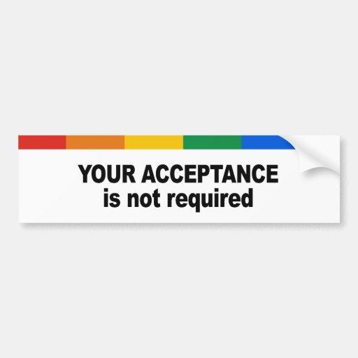 Su aceptación no se requiere etiqueta de parachoque