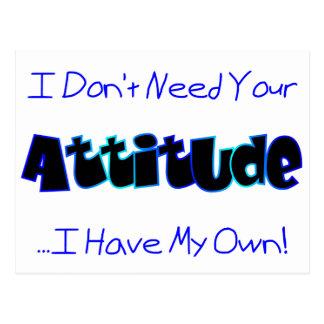 Su actitud (azul) postal