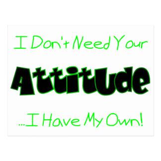 Su actitud (verde) tarjeta postal