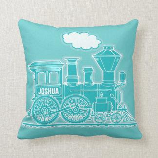 Su almohada de tiro azul del vapor del tren del