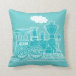 Su almohada de tiro azul del vapor del tren del tr