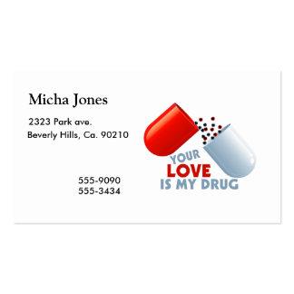 Su amor es mis corazones de la droga en píldora plantilla de tarjeta de negocio