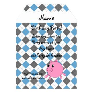 """Su argyle conocido del azul del negro del cerdo invitación 5"""" x 7"""""""