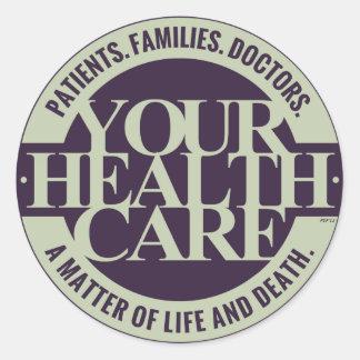 Su atención sanitaria pegatina redonda