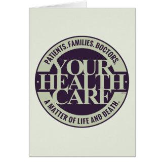 Su atención sanitaria tarjeta de felicitación