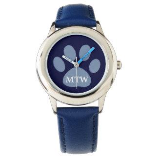 su azul de la pata del perro de las iniciales relojes de pulsera
