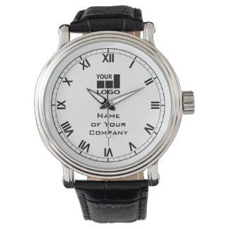 Su blanco y negro simple del nombre y del logotipo reloj