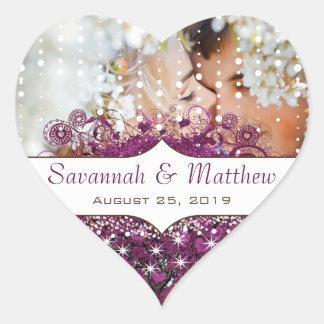 Su boda radiante del árbol de la hoja de Purple Pegatina En Forma De Corazón