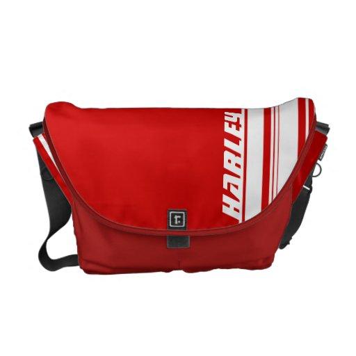 """""""su"""" bolso rojo y blanco conocido de la raya del d bolsa de mensajeria"""