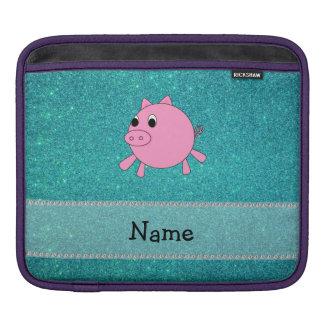 Su brillo conocido de la turquesa del cerdo fundas para iPads