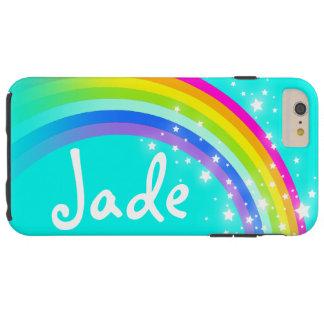 Su caja de la aguamarina del arco iris de la letra funda resistente iPhone 6 plus