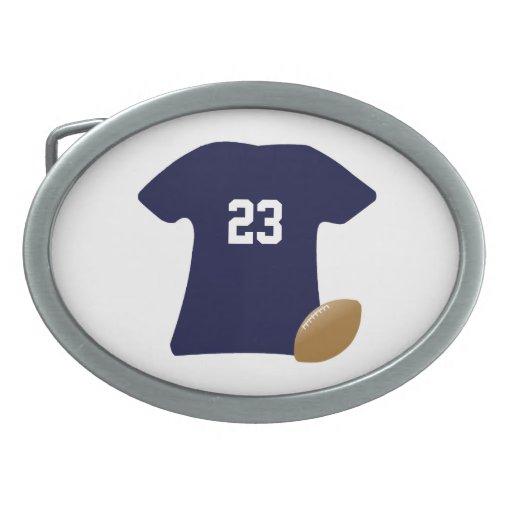 Su camisa del fútbol con la bola hebilla de cinturón