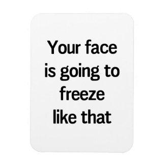 Su cara va a congelar como eso imán flexible