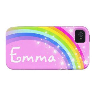 Su caso rosa claro del iphone del arco iris de la iPhone 4/4S funda