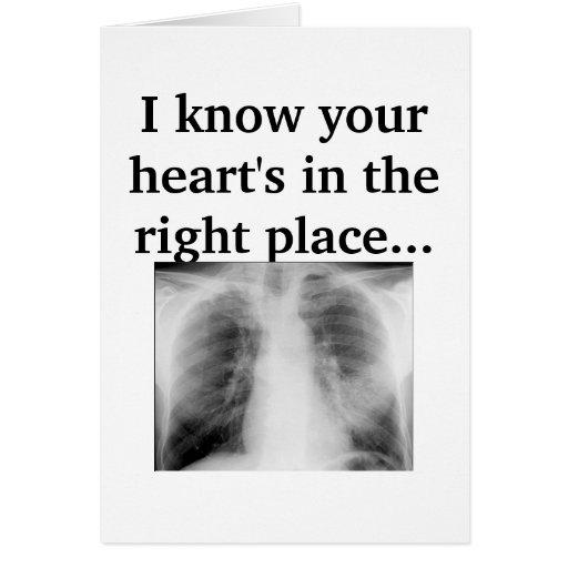 Su corazón en el lugar correcto tarjetón