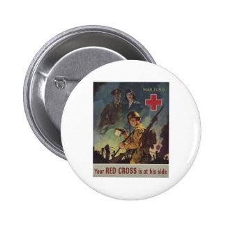 Su Cruz Roja está en su lado Pin Redondo 5 Cm