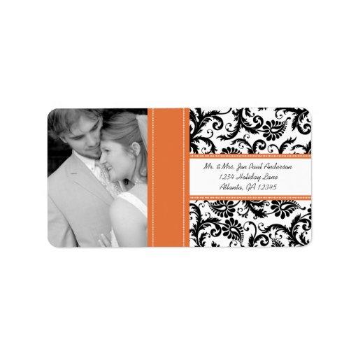 Su damasco de la mandarina del vintage del boda de etiqueta de dirección