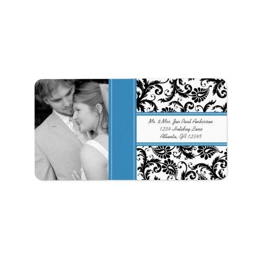 Su damasco del Regatta del vintage del boda de la Etiquetas De Dirección
