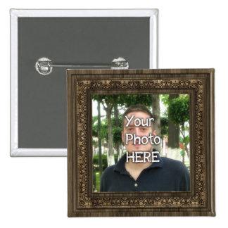 Su de la foto marco de madera aquí (impresión) pin cuadrada 5 cm