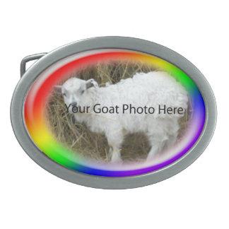 SU del arco iris de la cabra de la foto hebilla Hebillas De Cinturon Ovales
