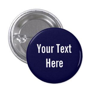 Su del texto botón sólido de encargo del fondo azu pin redondo de 1 pulgada