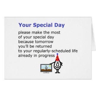 Su día especial - un poema divertido del cumpleaño felicitación