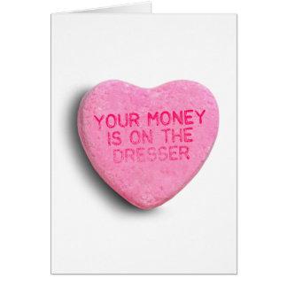 Su dinero está en el aparador tarjeton