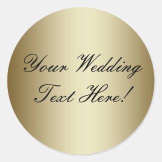 ¡Su diseño aquí! Sello adaptable del boda del oro Pegatinas Redondas