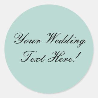 ¡Su diseño aquí Sello del boda de la verde menta Etiquetas Redondas