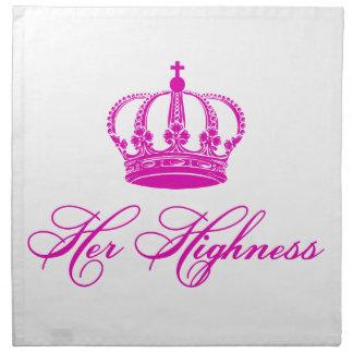 Su diseño del texto de la alteza con una corona vi servilleta imprimida