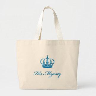 Su diseño del texto de la majestad con una corona  bolsa tela grande