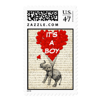 Su divertido una invitación del bebé del muchacho timbre postal