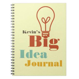 Su ecru moderno de la bombilla del diario grande d spiral notebook