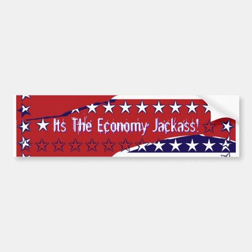¡Su el Jackass de la economía! Pegatina De Parachoque