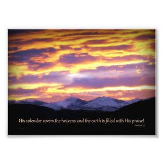 Su esplendor cubre los cielos la impresión 5 x 7 fotografía