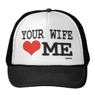 Su esposa me ama gorros bordados